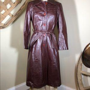 Jackets & Blazers - Vintage Long Leather Coat - Size 16